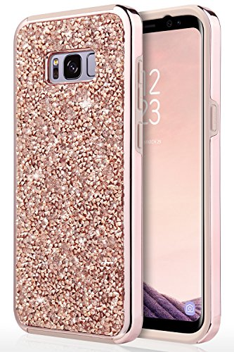 Anti Cover Protective Slip (Galaxy S8 Case, Samsung Galaxy S8 Case, UrbanDrama Crystal Sparkly Rhinestone Dual Layer High Impact Shockproof Hard PC Soft TPU Bumper Anti-Slip Protective Case Cover for Samsung Galaxy S8, Rose Gold)
