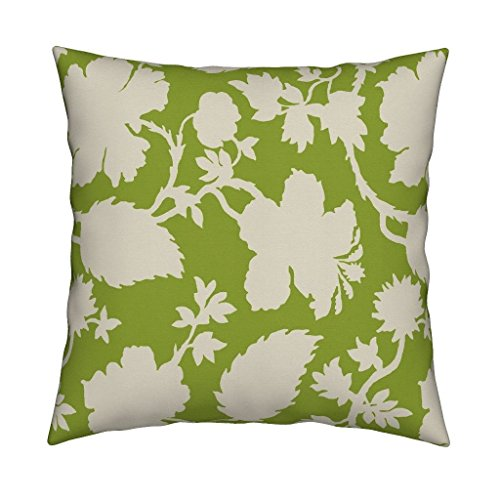 Roostery Tropical Floral Toile Green Lime Hibiscus Eco Canvas Throw Pillow Cover Amelia In Kiwi by Willowlanetextiles Cover w Optional Insert