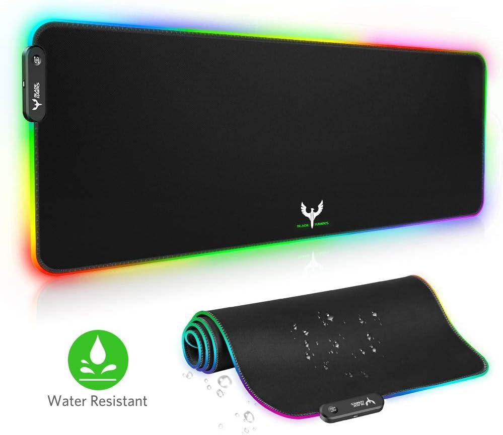 BLADE HAWKS Alfombrilla Gaming, 800 x 300 x4.0 mm Extra Grande Alfombrilla Raton RGB para Juego, Base de Goma Antideslizante y Superficie Suave Resistente al Agua para Gamers, PC y Portátil