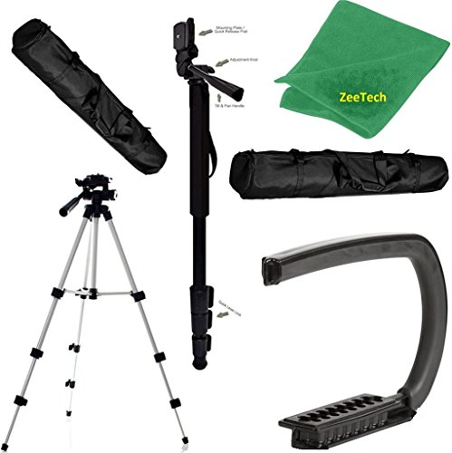"Camera Support Bundle For: Sony Cyber-shot DSC-RX100 II, DSC-RX1R, DSC-RX1R II, DSC-S75, DSC-S85, DSC-V1, DSC-V3 Professional Digital: Pro 50"" Tripod, 72"" Monopod & Vertical Grip -  ZeeTech, BASESNAP-120716-CAMSUPBND67"