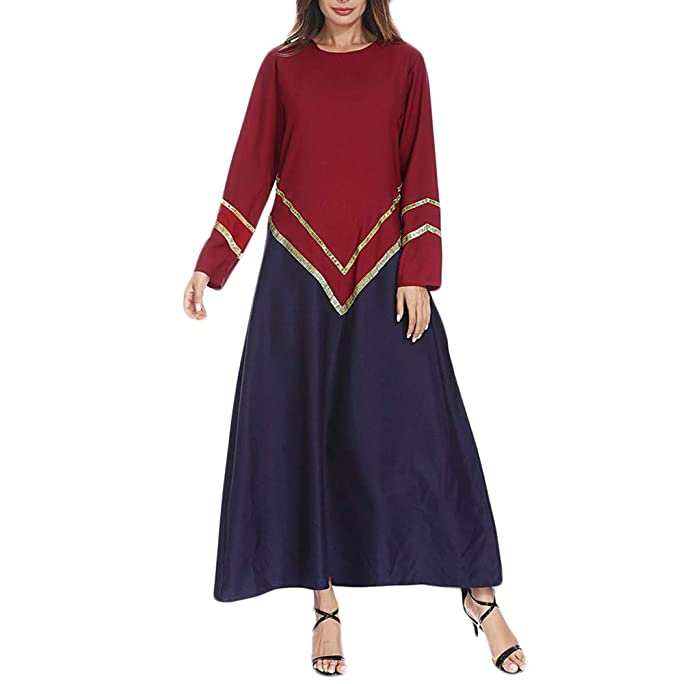 9f3c8db2aeed6 AKIMPE Muslim Women Islamic Splicing Easy Long Sleeves Plus Size Middle  East Long Dress Red M