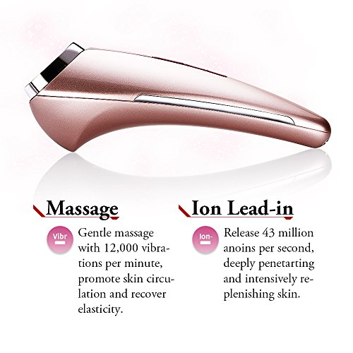 CosBeauty Anion Skin Refreshing Device, Skin Firming & Lifting Device, Heating and Cooling Vibration Ion Beauty Facial Massager, Waterproof Skin Care Beauty System (pink)