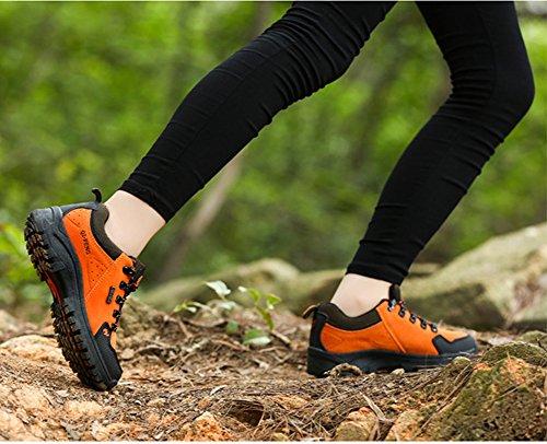 Trekkingschuhe Paare Schnürhalbschuh Sportschuhe Outdoorschuhe D Orange Unisex Damen Frühling Rutschfest Minetom Sommer Herren für tgFqnP