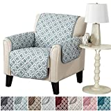 Modern Printed Reversible Stain Resistant Furniture Protector with Geometric Design. Perfect Cover for Pets and Kids. Adjustable Elastic Straps Included. Liliana Collection (Chair, Sea Blue Green)