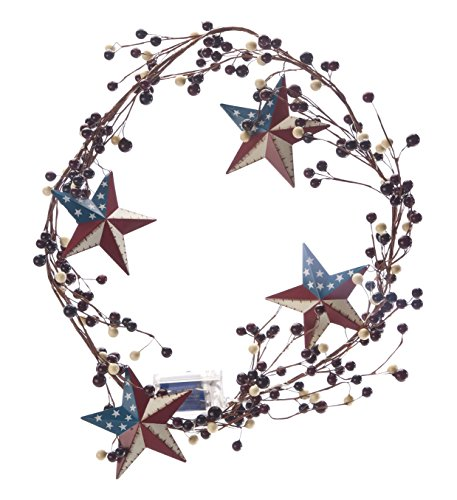 Fox Valley Traders Lighted American Barn Star Berry Garland - Battery Operated LED - 53 in Long - Indoor/Outdoor Use - Patriotic Décor for Entryway, Bookshelf, Mantle or Front Porch