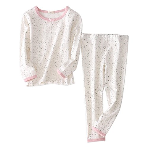 Girls Pajamas Sleepwear 2-Piece Cotton Long-Sleeved Top and Pant Clothing Set (5T, Floral -
