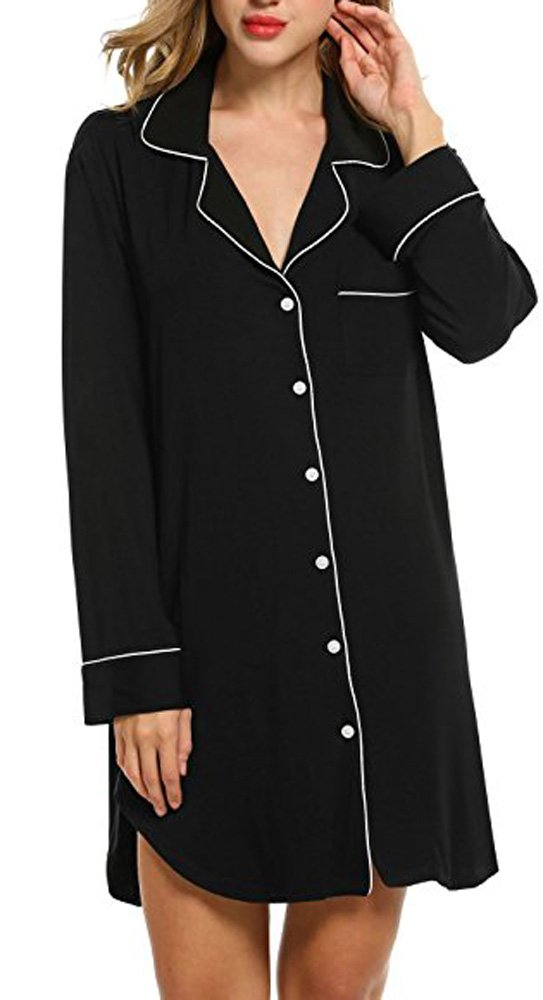 Trancylight Women Modal Casual Long Sleeve Boyfriend Style Nightshirts Sleepwear Tops (Black, L)