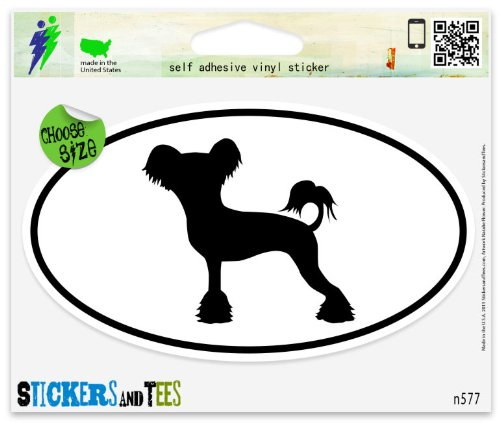 Chinese Crested Dog Breed Shape Oval Vinyl Car Bumper Window Sticker 3