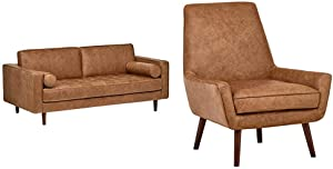 Amazon Brand Rivet Aiden Tufted Mid-Century Modern Leather Bench Loveseat Couch Sofa, Cognac & Jamie Leather Mid-Century Modern Low Arm Accent Chair, Cognac