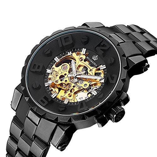 MG. ORKINA ORKINA Gear Shaped Large Case Golden Skeleton Dial Automatic Wristwatch Mechanical Watch Men