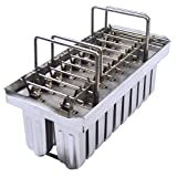 TechTongda 20pcs Stainless Steel Molds for Ice Lolly Popsicle Ice Cream Pops Bars (Type 1)