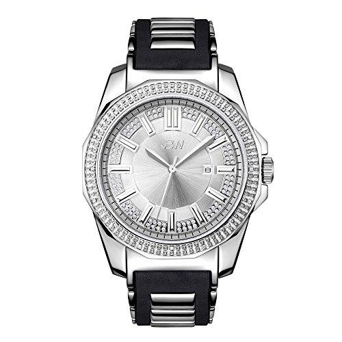 JBW Luxury Men's Regal 0.16 ctw Diamond Wrist Watch with Stainless Steel and Silicone Bracelet