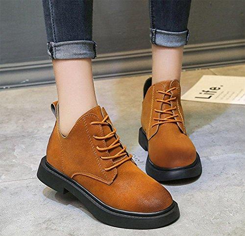 suole donna Martin moto scarpe scarpe moda Scarpe da donna boots stivali da caramel color da stivaletti spesse alla 54OYq8