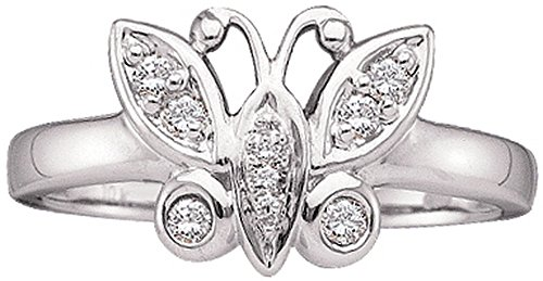 10kt White Gold Womens Round Diamond Butterfly Bug Cluster Ring 1/10 Cttw by JawaFashion