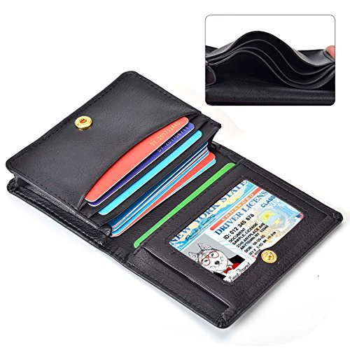 Leather Case Minimalist Money Clip Front Pocket Wallet Super Thin Fashion Card Holder With ID Card Window