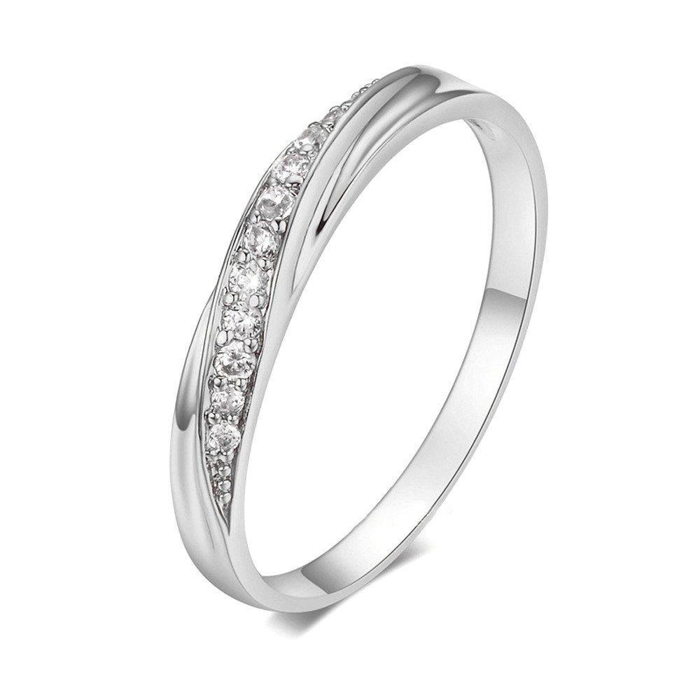 XBKPLO バレンタインデーリング 女性用 シンプルなダイヤモンド ハイグレードジルコンのウェディングアクセサリー ジュエリーギフト シルバー 5.5# シルバー B07MV8F65R