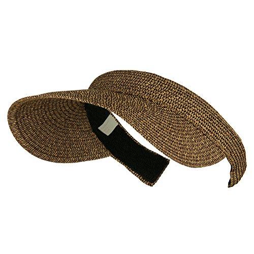 (UPF 50+ Paper Braid Clip On Visor - Brown Black OSFM)