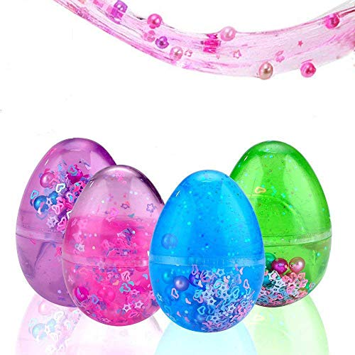 Sloueasy- Easter Eggs Putty Fluffy Slime, Soft Scented Stress Relief Sludge Clay Slime Jumbo Mud Slime Toy Easter Basket Stuffers Gift(4pack)