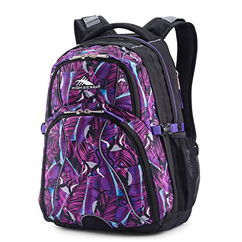 High Sierra Swerve Laptop Backpack, Rainforest/Black/Deep Purple