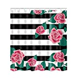 Black White and Pink Shower Curtain Artown Pink Roses Shower Curtain, Vintage White and Black Stripes Red Flowers Retro Elegant Chic Print Artwork, Floral Waterproof Polyester Bathroom Decor Set with 12 Hooks, 72 Inches Long