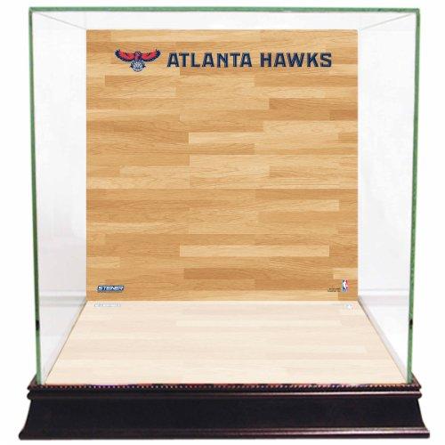 NBA Atlanta Hawks Glass Basketball Display Case with Team Logo on Court Background - Atlanta Hawks Glass