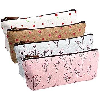 Amazon.com : eBoot Flower Pencil Case Zippered Canvas Pouch ...
