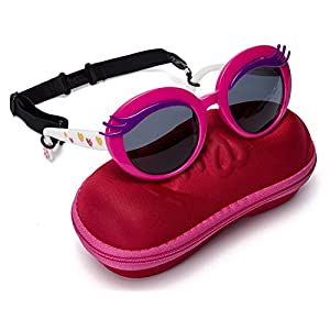 Comcl Girls Eyelash Polarized Sunglasses - UV Protection Plastic Frame Lenses Sunglasses For Baby Toddler And Kids – Stylish Cute Round Junior Sunglasses With shoe Shape Case
