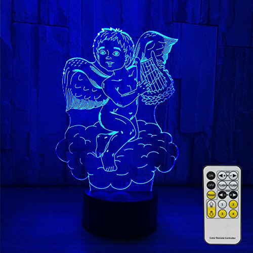 Night Lights for Kids Angel Decorations 7 Colors Change with Remote Baby Night Light Beside Lamp Kids Lamp Children's Night Lights As a Gift Idea for Girls and boys (angel)