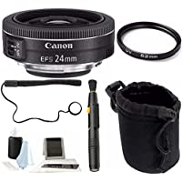 Canon EF-S 24mm f/2.8 STM Lens with 52mm UV Protector and Accessory Bundle