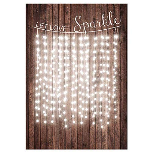 Allenjoy 5x7ft Let Love Sparkle Rustic Wedding Backdrop Wood Wooden for Engagement Red Carpet Portrait Background Bridal Shower Happy Birthday Party Cake Dessert Table Decor Decoation Banner