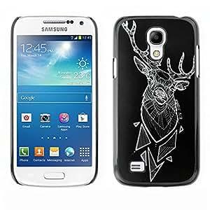 Arte ciervos Polígono Arte Negro abstracto- Metal de aluminio y de plástico duro Caja del teléfono - Negro - Samsung Galaxy S4 Mini i9190 (NOT S4)