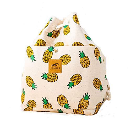Lemur Bags Canvas Backpack Purse - Cute Eco-Friendly Drawstring Shoulder Bucket Day Bag -