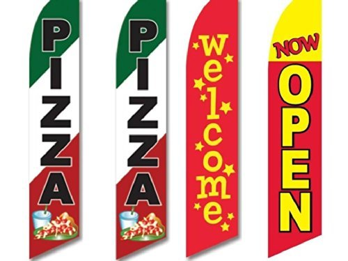 4 Swooper Flags Pizza Pizzeria Restaurant Welcome Now Open Red Green White Italy