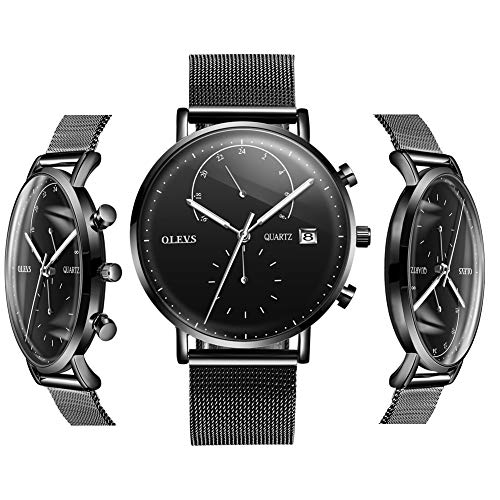 Black Watches for Men - OLEVS Inexpensive Watches for Men Waterproof Mens Watches Calendar 2019 Stainless Steel with Day Date Watch Analog Quartz Gift Watch for Birthday Party Business