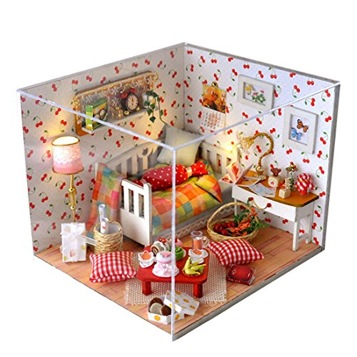 A-szcxtop DIY Wooden Doll House Model Creative Miniature Doll House Furniture Toys Gift for Children