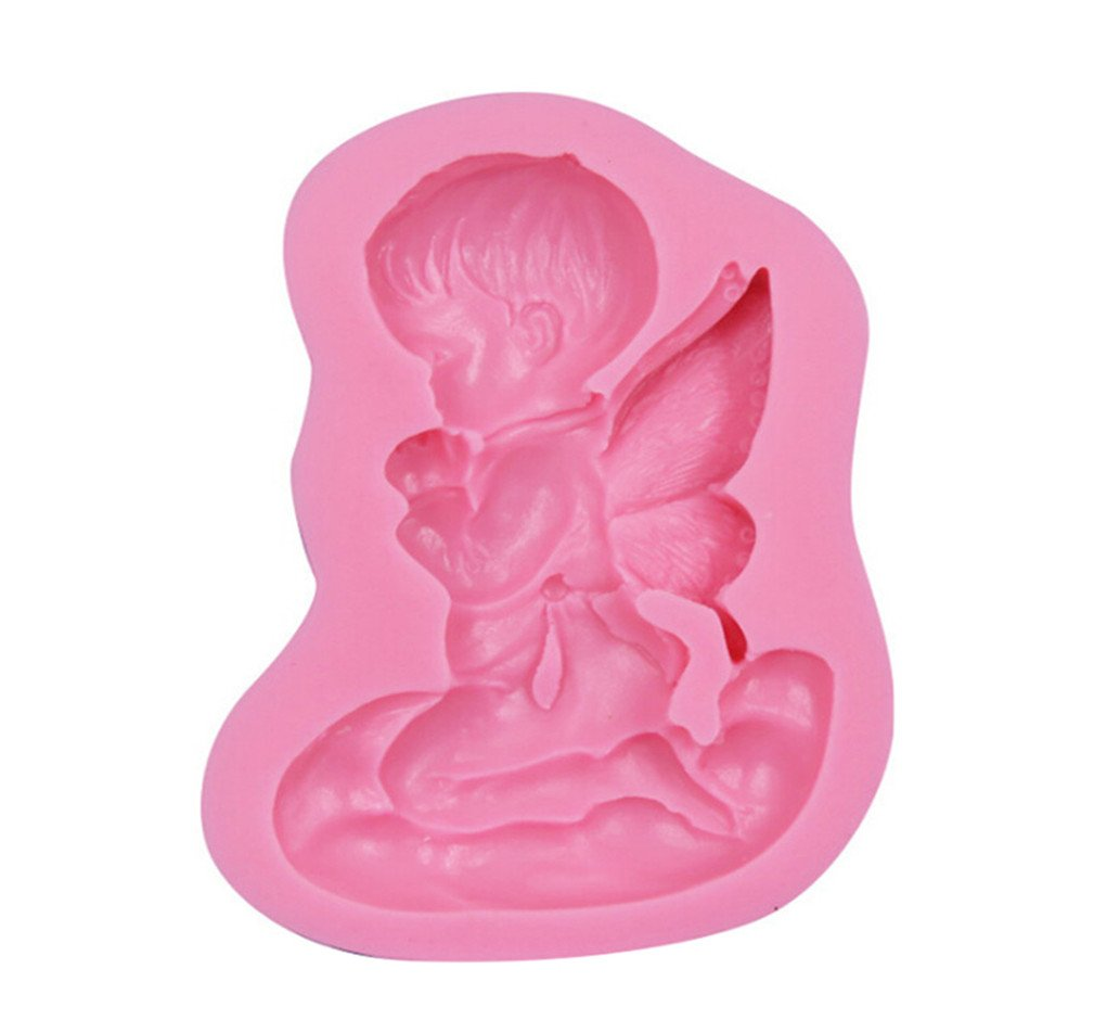 LALANG Angel Boy Shape 3D Silicone Mold Fondant Cake Tools for Cupcake Food Grade Silicone Mould