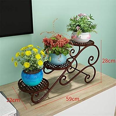 GFYWZ Soporte para Plantas de jardín Soporte para macetas de Metal Metal Interior Moderno/Exterior/Jardín/Terraza/Decoración de balcón,Brown,M: Amazon.es: Hogar