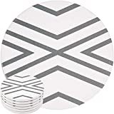 ENKORE Absorbent Coasters For Drinks - LARGE Ceramic Stone With Cork Base, Drink Spills Thirsty Cup Coaster Set of 6 Pack No Holder, OVERSIZE BETTER Protects Furniture - Grey Lines Design