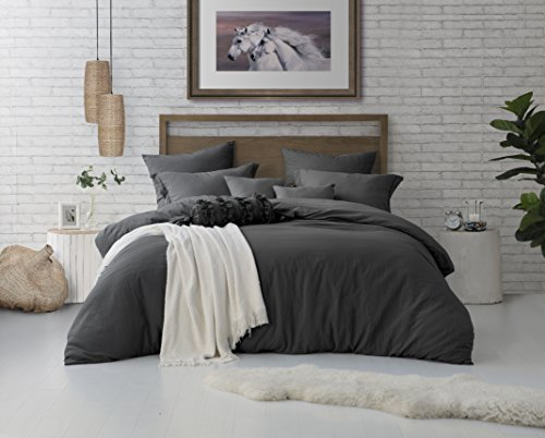 Swift Home Microfiber Washed Crinkle Duvet Cover & Sham (1 Duvet Cover with Zipper Closure & 2 Pillow Shams), Premium Hotel Quality Bed Set, Ultra-Soft & Hypoallergenic - King/Cal King, Charcoal Grey (Charcoal King Size Duvet Cover)