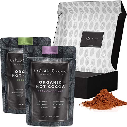 Hot Chocolate Gift Sets Box | Organic Cocoa Mix 2 Flavors Dark Chocolate & Peppermint Packaged as a Beautiful Gift 4lb Gourmet Cocoa Powder Packets Premium Quality Bulk Variety Pack Gluten-Free Kosher