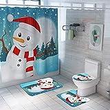 RICH-Po 4Pcs Christmas Snowman Shower Curtain Set Waterproof Shower Curtain Non-Slip Bath Mat Toilet Seat Cushion Set,Cute Housewarming Gift