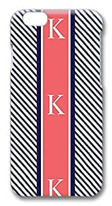 iPhone 6 Cases, Navy Blue Stripes Coral Monogram Protective Snap-on Hard Case Back Cover Protector Slim Rugged Shell Case For iPhone 6 (4.7 inch)
