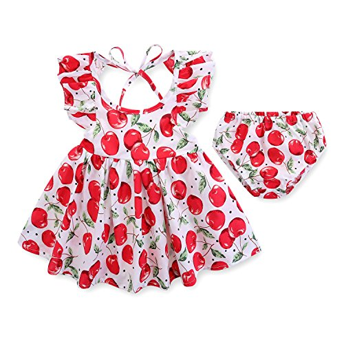 Armelo's Baby Girl Infant Newborn Casual 2-Piece Summer White Cherry Dress set with Briefs(6-9 (Casual Light Cherry)