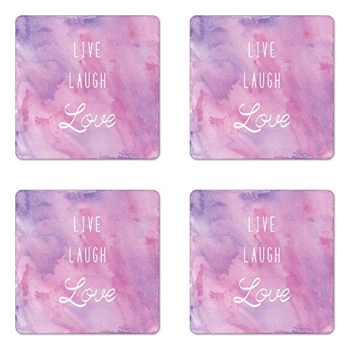 Live Laugh Love Coaster Set of Four by Ambesonne, Dreamy Watercolors Brushstrokes with Positive Quote Message, Square Hardboard Gloss Coasters for Drinks, Pale Pink Lavander White