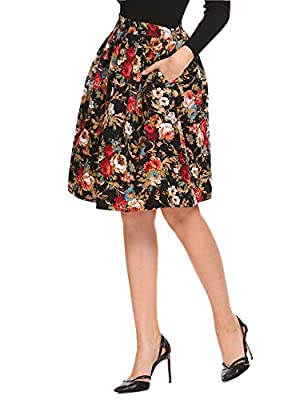 Donkap Women's Elastic Waist Pocket A Line Pleated Vintage Floral Print Swing Skirts