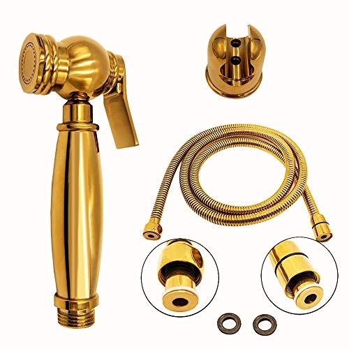 Brass Bidet Set - Bilu-hose Bathroom Brass Gold Wall Mount Hand Held Shower Bidet Shattaf Sprayer Set