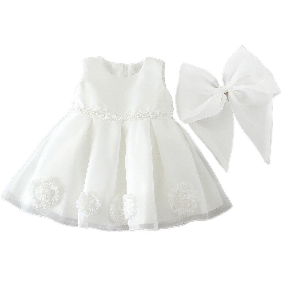 H//B beb/é ni/ña extra/íble flor de lazo marfil para bautizo ni/ña tul vestidos 1521 marfil Talla:0-3 meses