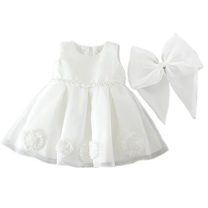 H/B bebé niña extraíble flor de lazo marfil para bautizo niña tul vestidos 1521
