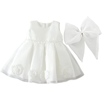 H/B bebé niña extraíble flor de lazo marfil para bautizo ...