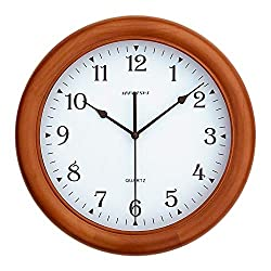 KAMEISHI 12-inch Wood Wall Clocks Battery Operated Non-Ticking Quiet Sweep Second Silent Round Simple Arabic Numerals Easy to Read Quartz Classic Handmade Wall Clock KSW237U Brown